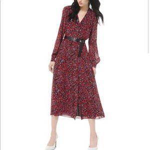 Michael Kors Woodland Print Midi Dress Belt XL NWT